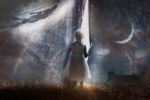 Petite fille au rideau V2