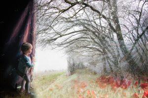 petite fille au rideau 40x60